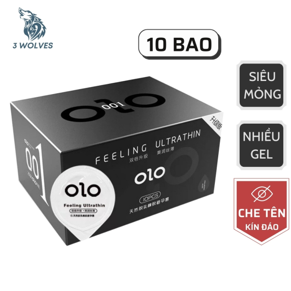 Bao cao su 0.01 OLO đen hương vani, siêu mỏng, nhiều gel bôi trơn kéo dài thời gian- Hộp 10 chiếc nhập khẩu