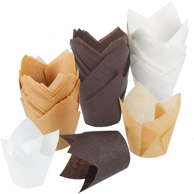 150 Pieces Tulip Cupcake Liner Baking Cups Paper Cupcake and Muffin Baking Cups for Weddings and Birthday (Brown,Kraft Paper,White)