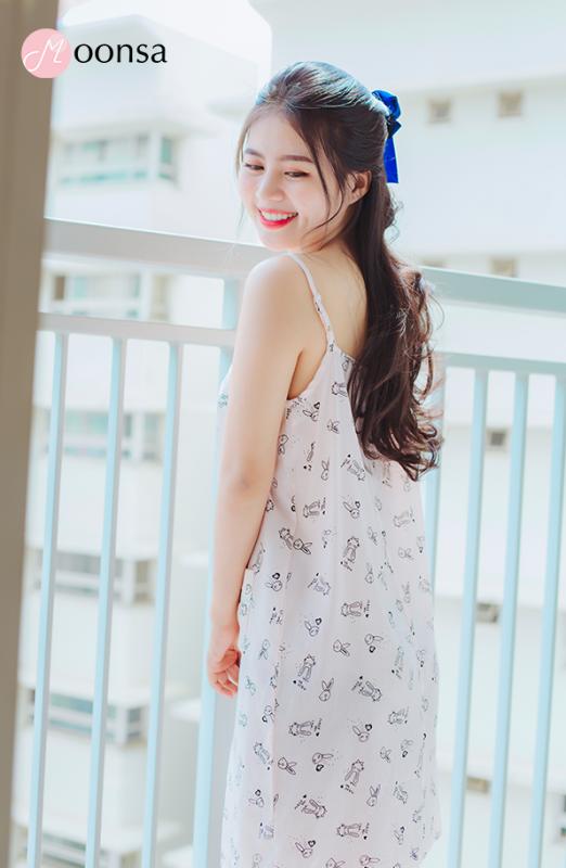 Nơi bán Váy ngủ nữ vải đũi Thỏ Yêu [Moonsa]