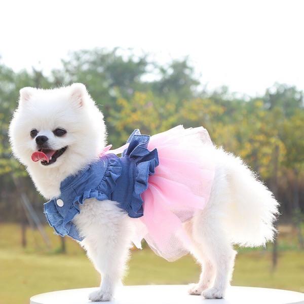 Váy đầm cho chó mèo kiểu dáng công chúa chât liệu vải jean phối ren tiểu thơ sanh chảnh