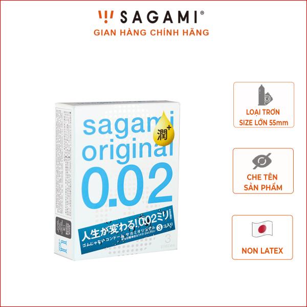 Bao cao su Sagami Original 0.02 Extra (Hộp 3) - Tăng 30% Gel - Siêu mỏng 0.02mm cao cấp