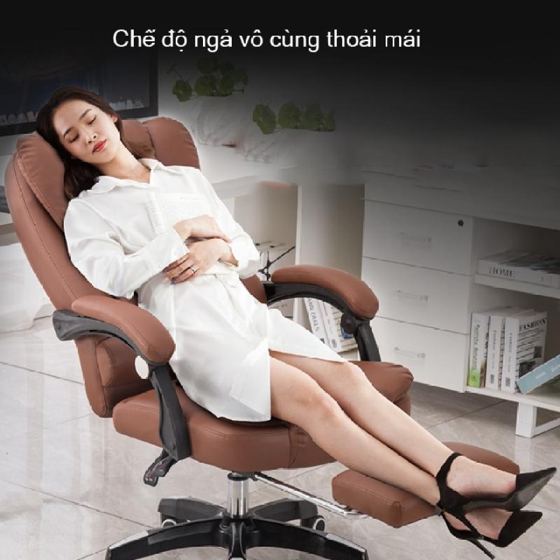 Ghế ngồivăn phòng, ghế da văn phòng, ghế massage lưng 5 điểm có ngả lưng, có chỗ để chân - XAVIA giá rẻ