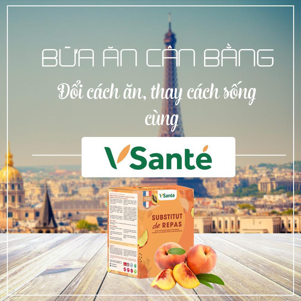 Combo 8 hộp Thực phẩm giảm cân [ Vị Đào ] - Thương hiệu Vsanté, Pháp + Tặng kèm bình lắc