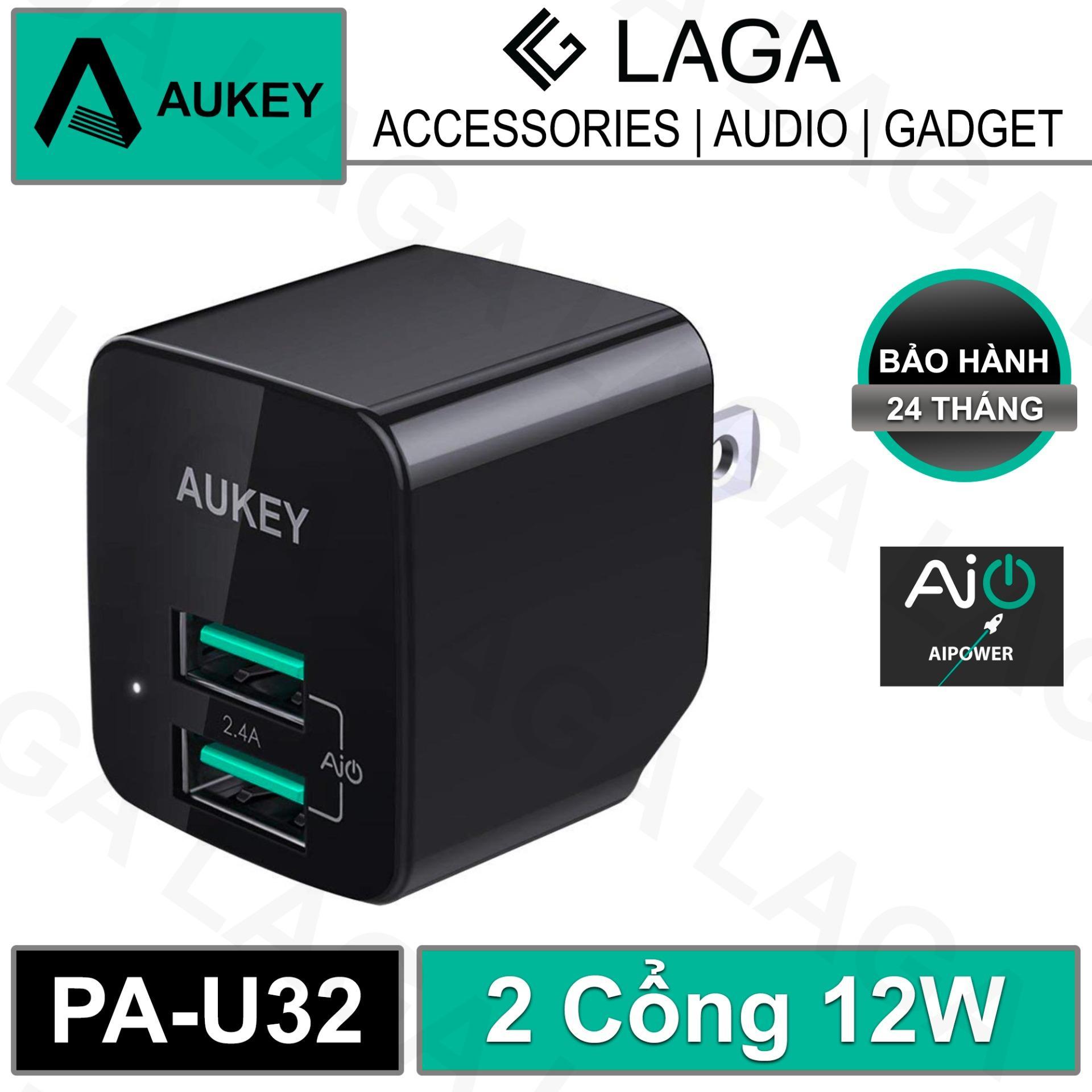 Cốc Sạc Mini Aukey 2 Cổng 12W AiPower - PA-U32