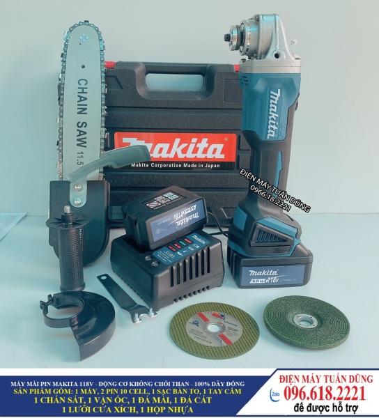Máy mài pin Makita 118V 6Ah - 2 pin 20000mAh - Động cơ không than, 100% dây đồng - TẶNG BỘ LƯỠI CƯA XÍCH CẮT GỖ, ĐÁ MÀI, ĐÁ CẮT