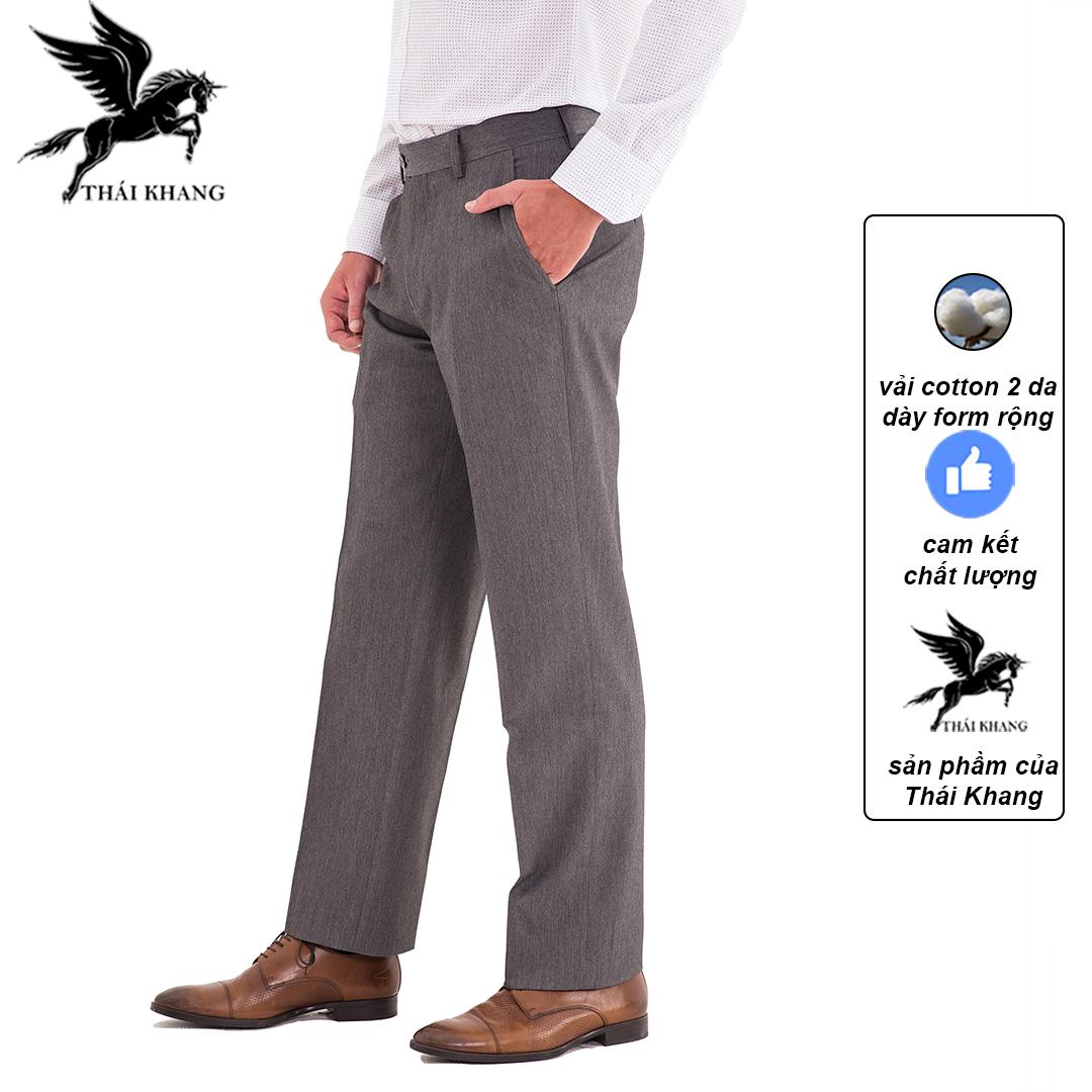 Quần âu nam trung niên ống suông vải cotton 2 da dày mát loại quần tây nam form rộng