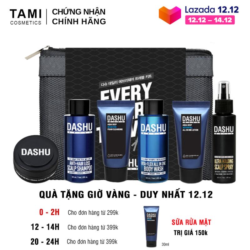 Set mini Dashu Nam Daily Lets ( dầu gội + sữa tắm + Lotion + sữa rửa mặt + sáp vuốt tóc + xịt tạo kiểu + bàn chải đánh răng + túi lưới ) Bộ dưỡng da và tạo kiểu tóc cho nam TM-SET02