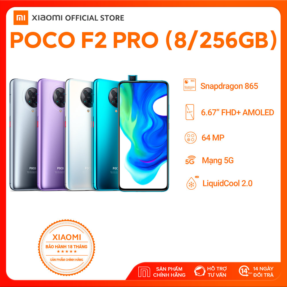 """[XIAOMI OFFICIAL] QUÀ TẶNG KÈM - Điện thoại POCO F2 PRO 8GB/256GB (REDMI K30 PRO QUỐC TẾ) - Snapdragon 865 Hỗ trợ 5G, Màn hình 6,67"""" Full HD+ AMOLED, LiquidCool 2.0, Pin 4700mAH Sạc nhanh 30W, Camera 64MP, Camera selfie 20MP - BH Chính hãng 18 tháng"""