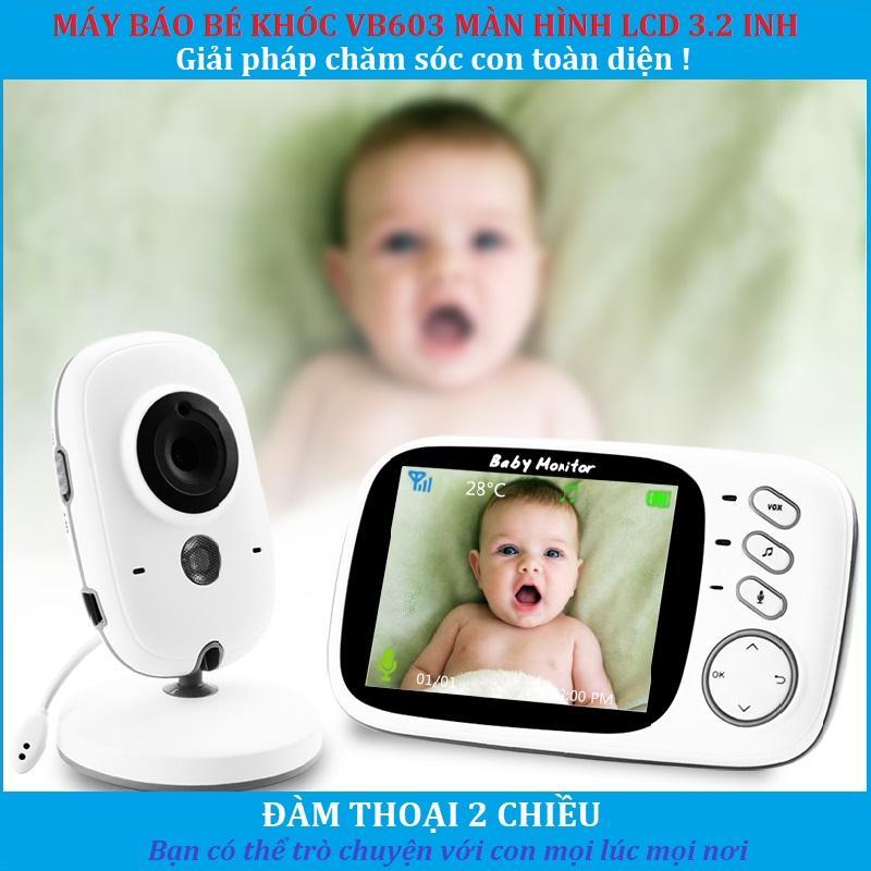 Máy Báo Bé Khóc VB603 Không Dây Màn Hình 3.2 Inh Chăm Sóc Trẻ Video Baby Monitor (Màu Trắng) Giá Sốc Nên Mua