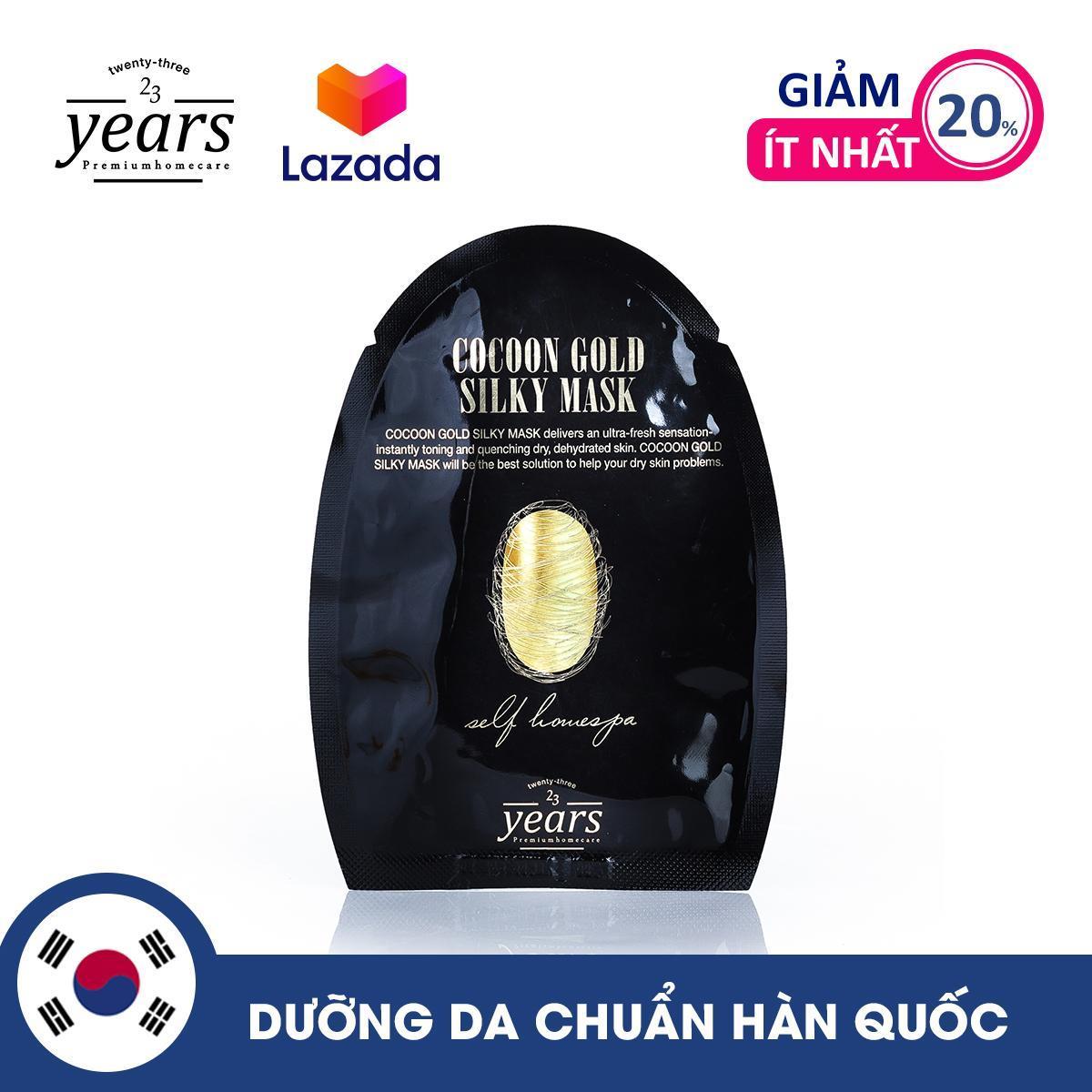 Mặt nạ lụa vàng kén tằm giúp da trắng sáng và căng bóng 23 Years Old Cocoon Gold Silky Mask 25g chính hãng