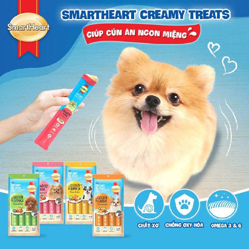 [Lấy mã giảm thêm 30%] Kem súp Smart Heart Creamy Dog Treats 15gx4 dành cho chó - CutePets