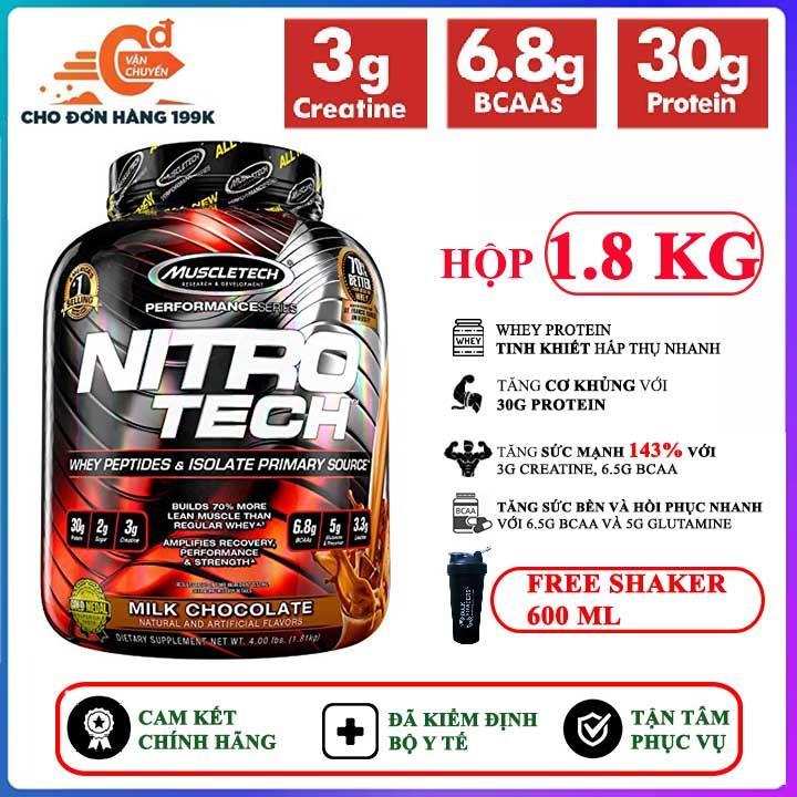 [TẶNG BÌNH LẮC] Sữa tăng cơ cao cấp Whey Protein Nitro Tech của MuscleTech hộp 1.8kg hỗ trợ tăng cơ giảm mỡ, tăng sức bền sức mạnh vượt trội cho người tập gym và chơi thể thao