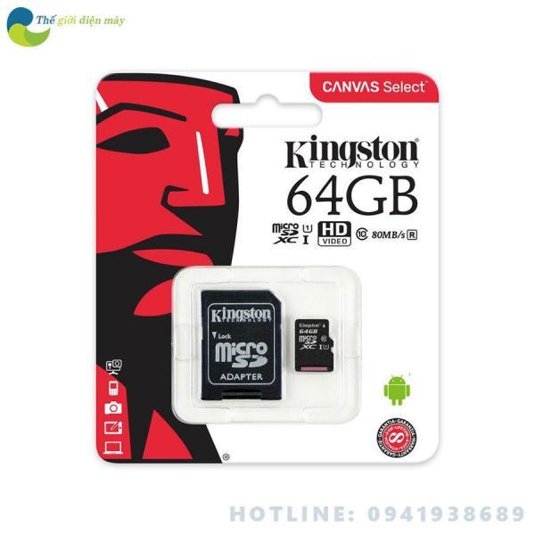 Thẻ nhớ microSD  Kingston 64GB class 10 u1 Canvas Select 80MB/s - Bảo hành 5 năm - shop Thế giới điện máy
