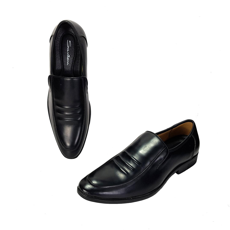 Giày tây nam da bò họa tiết 3 gân giày lười nam giày công sở thời trang hàng hiệu giá rẻ lịch lãm có size lớn L-7 màu đen