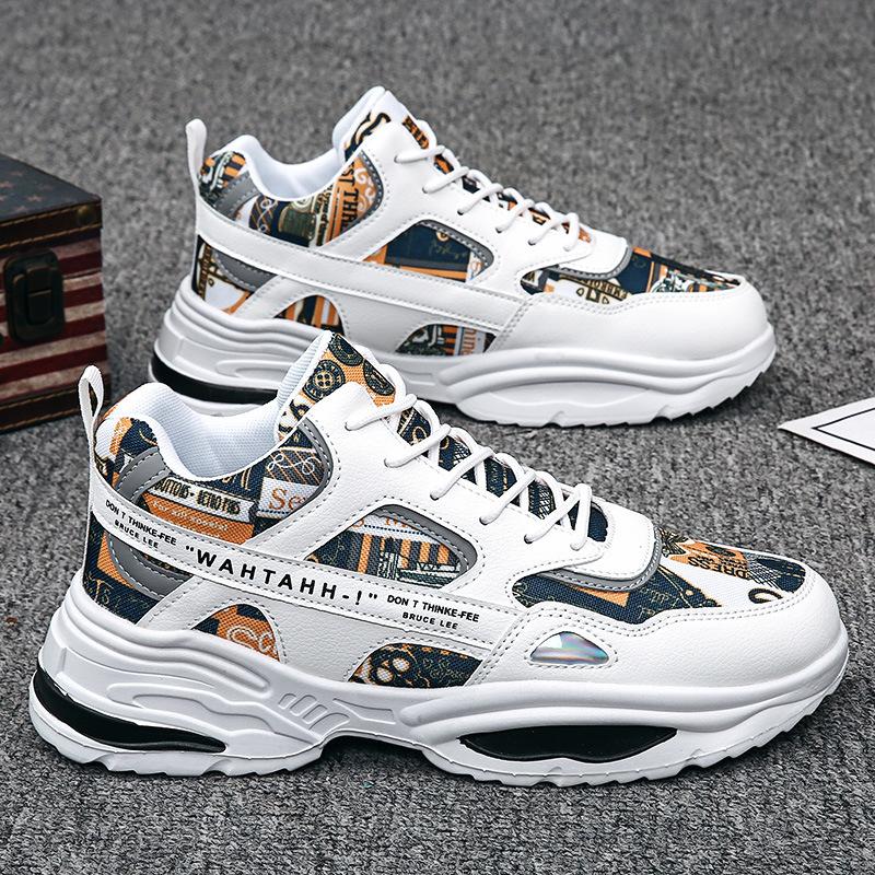 Giày Thể Thao Nam Sneaker Tăng 5Cm Chiều Cao, Đế Tổng Hợp Độ Bền Cao, Kiểu Dáng Cá Tính Cực Ngầu, Xu Hướng 2021