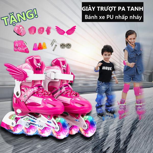 Phân phối giày trượt patin trẻ em1 hàng bánh đơn, giày trượt pa tanh nhấp nháy size M-L, giày pa tanh thời tranh cánh thiên thần  Tops Market