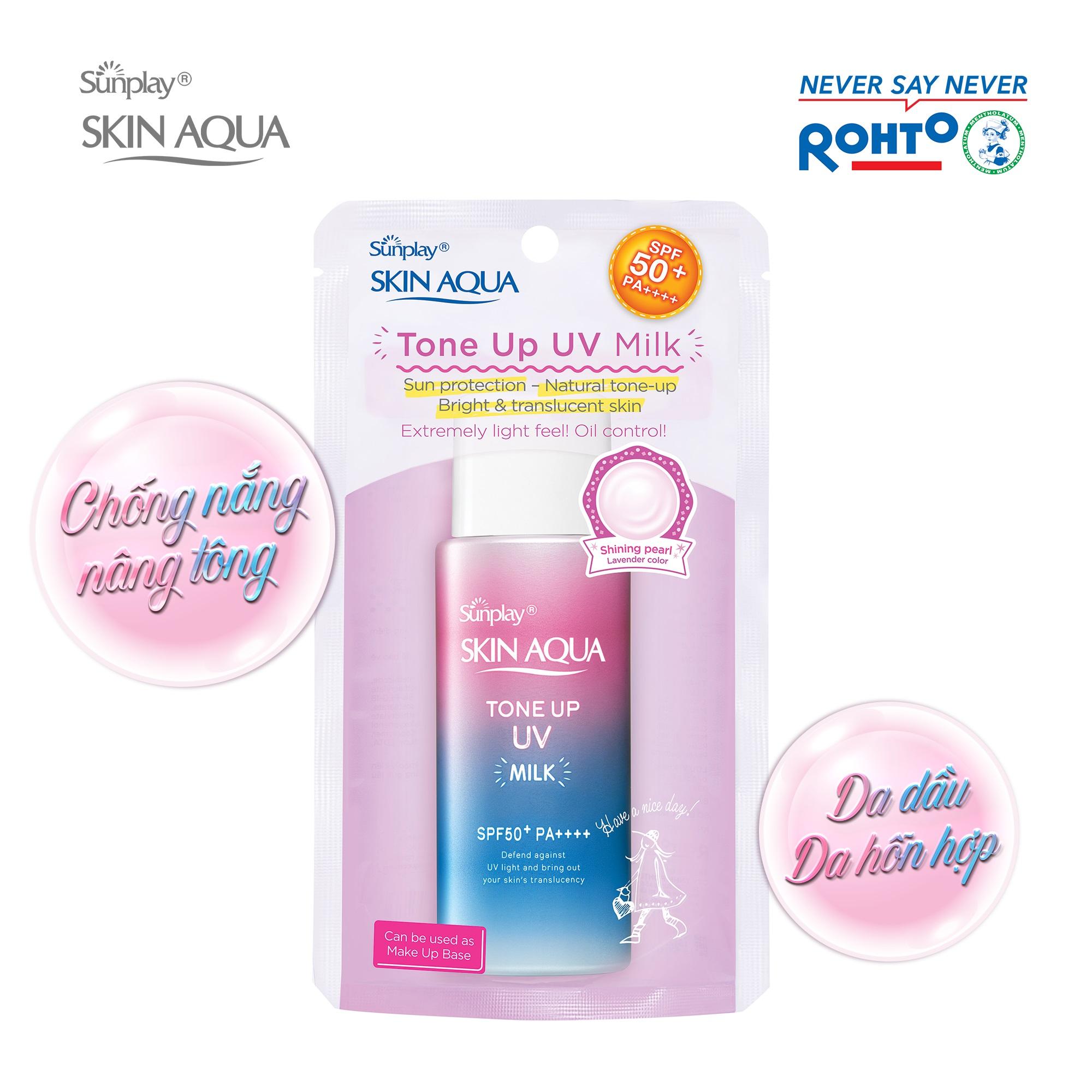 Kem chống nắng dạng sữa hiệu chỉnh sắc da Sunplay Skin Aqua Tone Up UV Milk SPF50+ PA++++ 50g