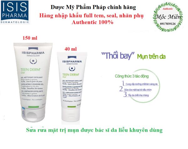 Gel Rửa Mặt Giảm Nhờn, Trị Mụn Teen Derm Gel Isis Pharma 150ml nhập khẩu