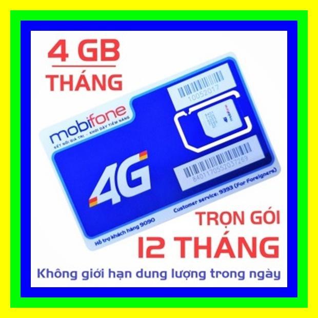 SIM 4G MOBIFONE TRỌN GÓI 1 NĂM KHÔNG NẠP TIỀN - SIM 4G MOBI TẶNG 4GB/THÁNG - SHOP SIM GIÁ RẺ