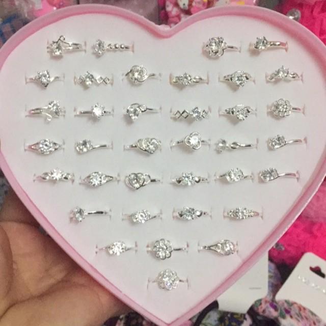 Hộp 36 nhẫn bạc nữ đính đá sang chảnh đẹp lung linh không đen không han gỉ ( Có video + ảnh thật )