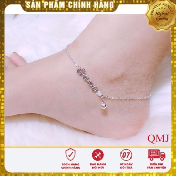 Lắc chân kim tiền tài lộc , Trang sức bạc QMJ cam kết chất lượng, bảo hành trọn đời sản phẩm