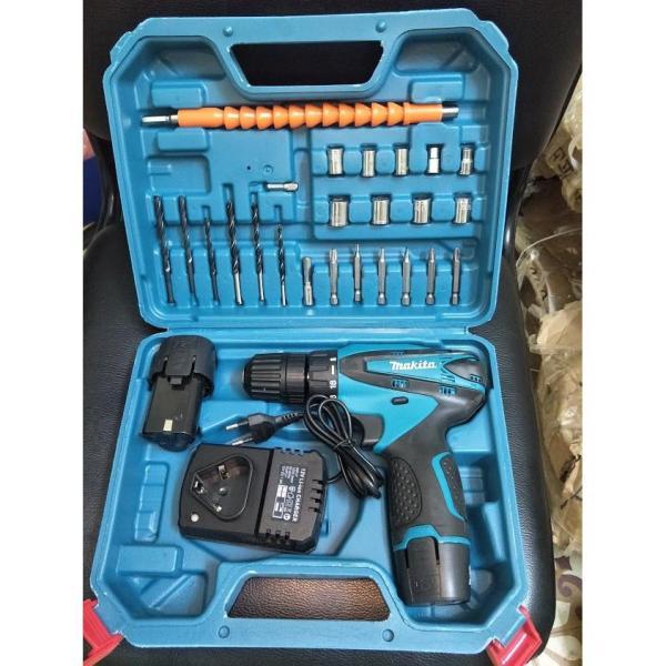 Máy khoan pin Makita 12V Đủ đồ Phụ Kiện 28 chi tiết Bắt Vít, Khoan Tường, Siết Bulong