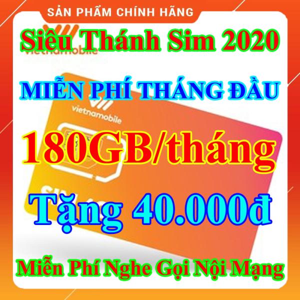 Siêu Thánh Sim 2020 Vietnamobile - Miễn phí 180GB/Tháng - Miễn Phí Tháng Đầu - Tặng 40.000đ - Nghe Gọi Nội Mạng Miễn Phí - Sim Trọn Đời - Shop Lotus Sim Giá Rẻ