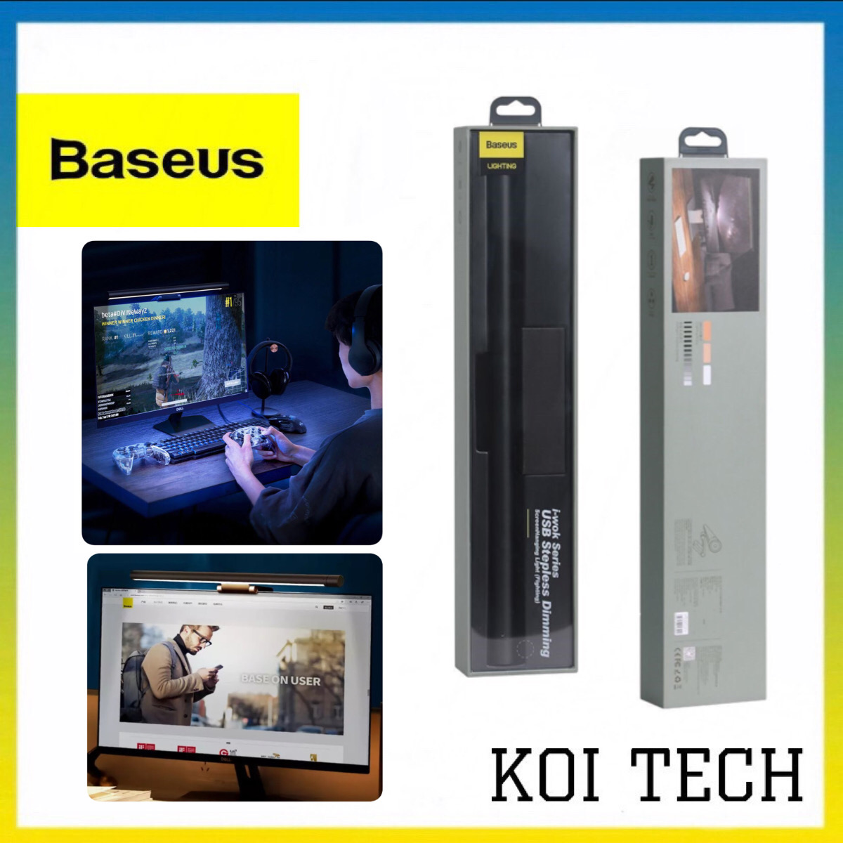 Baseus Led Đèn treo 3 chế độ ánh sáng có thể điều chỉnh - Đèn đọc sách baseus treo màn hình máy tính - đèn tiết kiệm điện bảo vệ mắt cổng micro usb cho văn phòng bàn học và làm việc