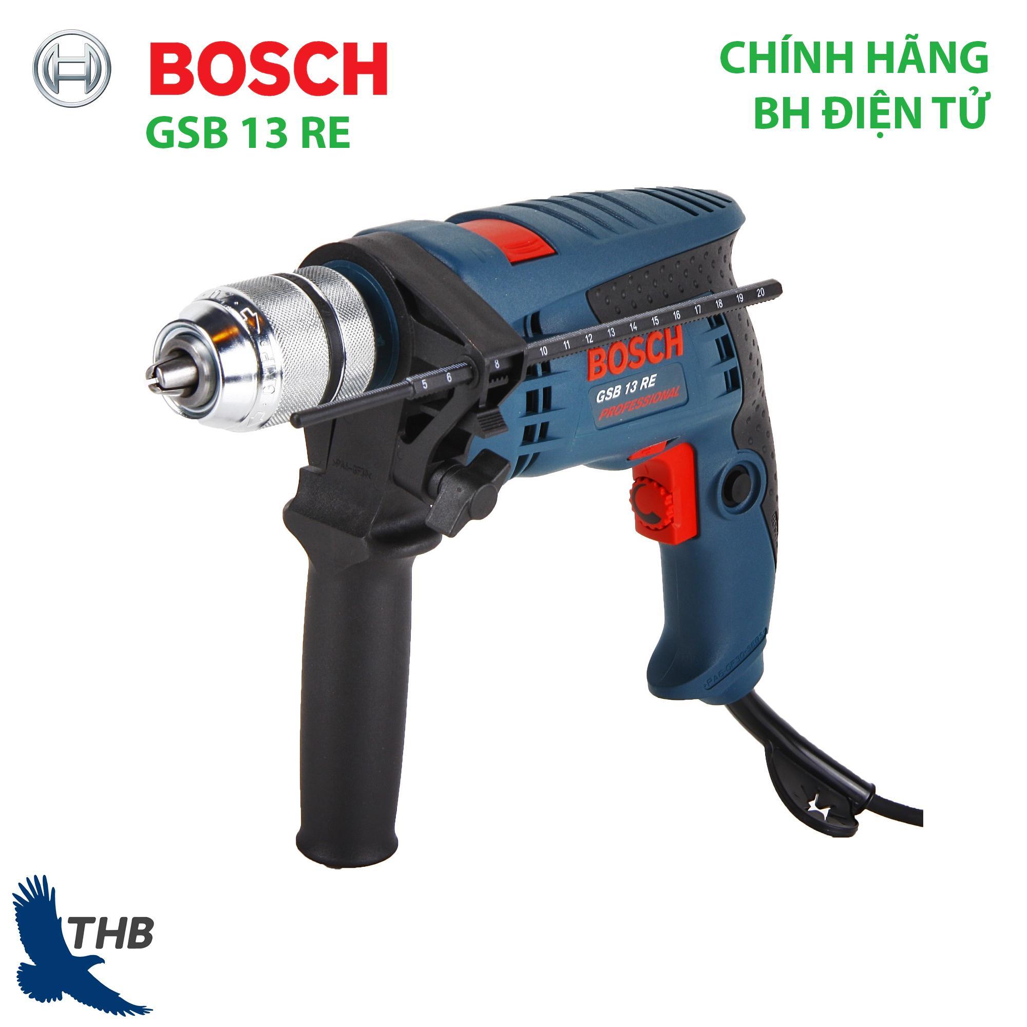 Máy khoan đa năng Máy khoan động lực Bosch GSB 13 RE Xuất xứ Malaysia Công suất 600W Bảo hành điện tử 12 tháng