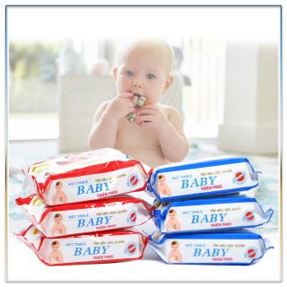KHăn Ướt Cho Bé, Giấy Ướt Baby, với vitamin e, dùng cho trẻ sơ sinh và gia đinh, mềm mại mịn màng phù hợp cho da nhạy cảm , an toàn và dịu nhẹ cho da của bé, có nắp tiện lợi dễ dùng thumbnail