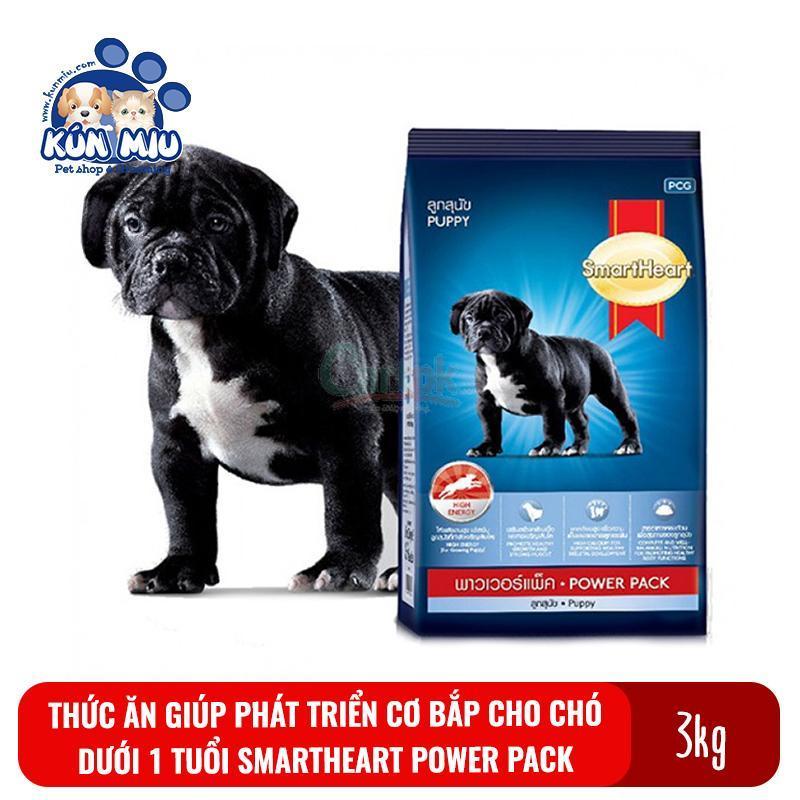 Thức ăn cho chó con dưới 1 tuổi phát triển cơ bắp SmartHeart Power Pack puppy túi 3kg