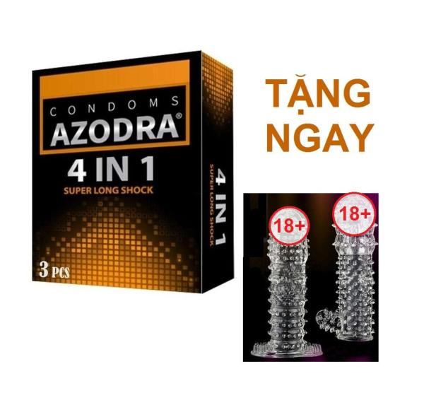 Bộ 1 hộp Bao cao su kéo dài thời gian AZODRA tặng 1 Bcs cao cấp dùng nhiều lần nhập khẩu