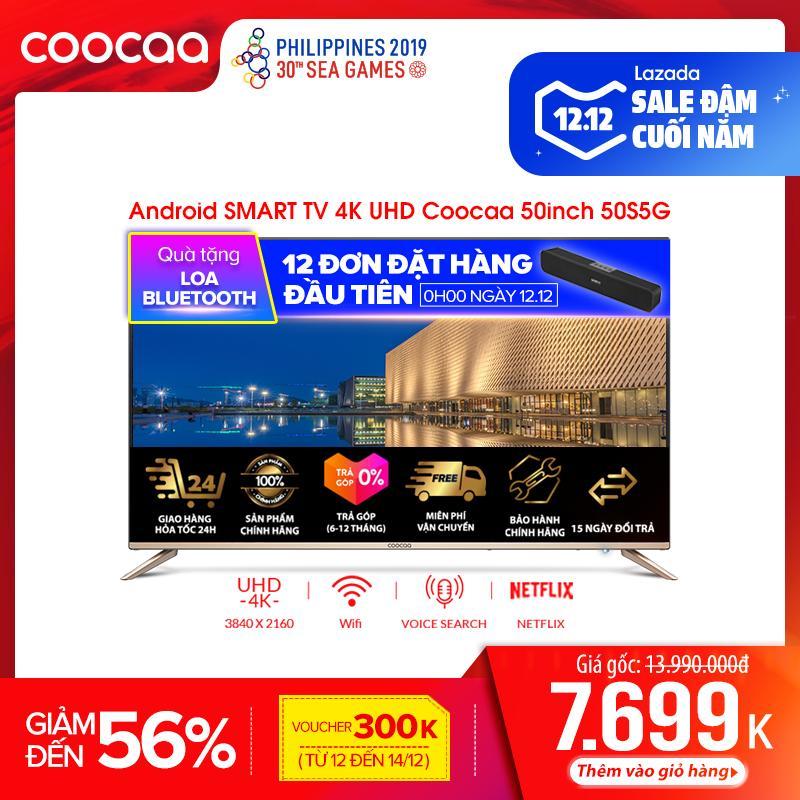 Android SMART TV 4K UHD Coocaa 50 Inch Wifi Tivi- Viền Mỏng - Model 50S5G (Vàng) - 49 Tivi Giá Rẻ Chân Viền Kim Loại Giá Ưu Đãi Không Thể Bỏ Lỡ