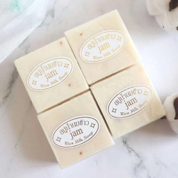 【Siêu Rẻ】Combo 4 Cục Xà Phòng Cám Gạo Kích Trắng Da Jam Rice Milk Soap Thái Lan