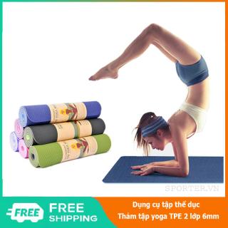 Thảm tập yoga TPE 2 lớp 6mm tặng kèm túi đựng thảm, thảm tập yoga chống trơn trượt, thảm tập yoga cao cấp, thảm tập yoga TPE 2 lớp, thảm tập yoga cao su non TPE, thảm tập yoga 2 lớp - 84 Store thumbnail