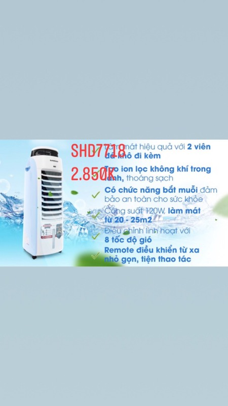 Bảng giá Máy Làm Mát Không Khí Và Bắt Muỗi SUNHOUSE SHD7718