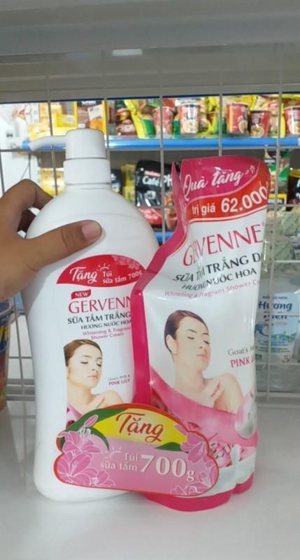 Mua 1 tặng 1 Sữa Tắm Trắng Da Gervenne 1,2lít + túi 700ml