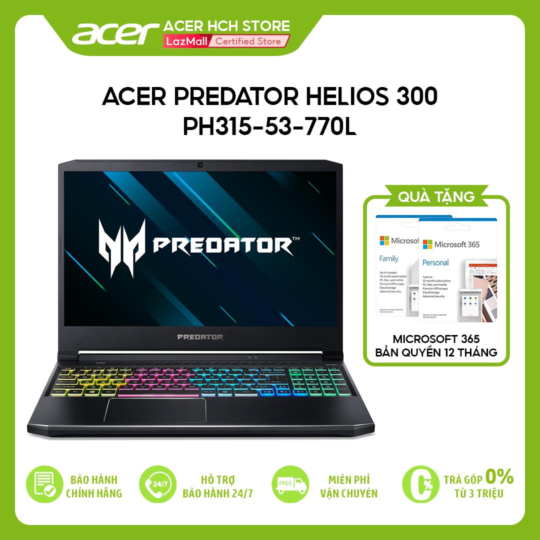 "[VOUCHER 10% từ 27-29.03] Laptop Gaming Acer Predator Helios 300 PH315-53-770L i7-10750H   8GB   512GB   VGA GTX 1660Ti 6GB   15.6"" FHD 144Hz   Win 10"