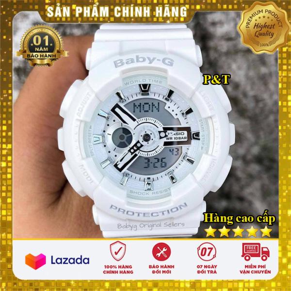 Đồng hồ Casio Baby-G Nữ BA-110 màu trắng cực đẹp - Made in JAPAN - Bảo hành 12 tháng - Đồng hồ P&T [ FreeShip- Hàng cao cấp- Full box ] bán chạy