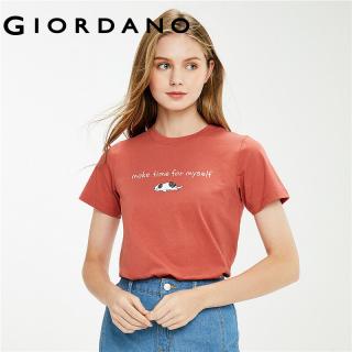 Áo Thun Nữ T-shirt Tay Ngắn T-shirt GIORDANO Women Cổ tròn In con mèo trước ngực 100% cotton Free Shipping 05391385 thumbnail