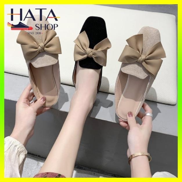 Giày búp bê nữ dáng sục tiểu thư thắt nơ dạ chất liệu da lộn cực xinh, sục nữ xinh, giày búp bê nữ xinh mang đi học, đi chơi giá rẻ