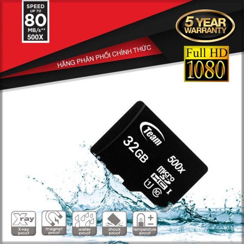 Thẻ nhớ 32GB Micro SDHC Team Classs10 U1 tốc độ cao cho Camera , điện thoại (Đen)  - Chính hãng