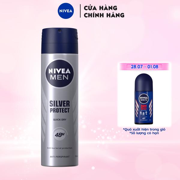 Xịt Ngăn Mùi NIVEA MEN Silver Protect Phân Tử Bạc Giảm 99.9% Vi Khuẩn Gây Mùi (150ml) - 82959 giá rẻ