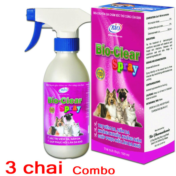 [HCM]Combo 3 Chai xịt BIO- CLEAR SPRAY viêm da nấm da phục hồi da tổn thương cho chó mèo-79209