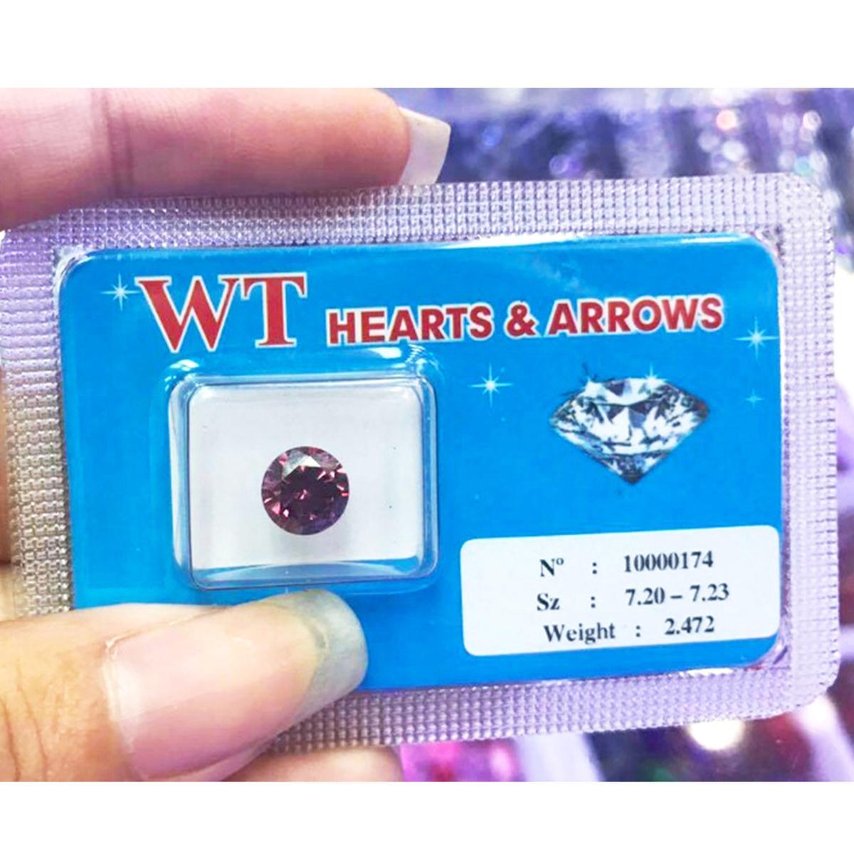 Kim cương nhân tạo WT 7.2LY (màu đỏ ruby) - 8 Arrows & 8 Hearts