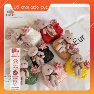 Túi đeo chéo gắn thỏ bông và nơ hồng mẫu mới, thời trang cho bé gái từ 4 tới 10 tuổi DrTOY 4