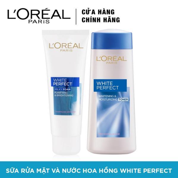 Bộ sữa rửa mặt và nước hoa hồng dưỡng da trắng mượt đều màu LOréal Paris White Perfect