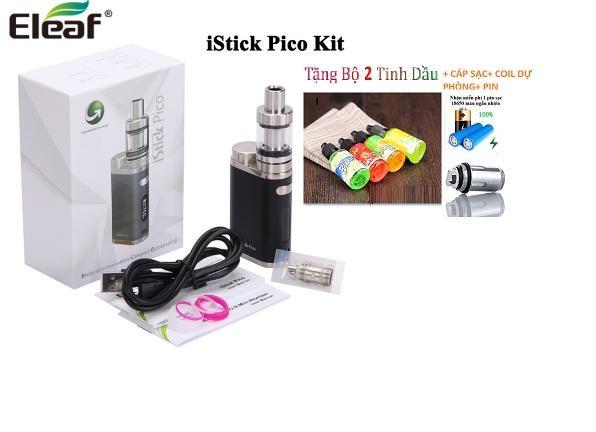 Bộ full combo thuốc la điện tử iStick Pico 75w giá rẻ model 2019 (Đen) + tặng kèm 1 đầu đốt + 2 lọ tinh dầu + 1 Pin chuyên dụng