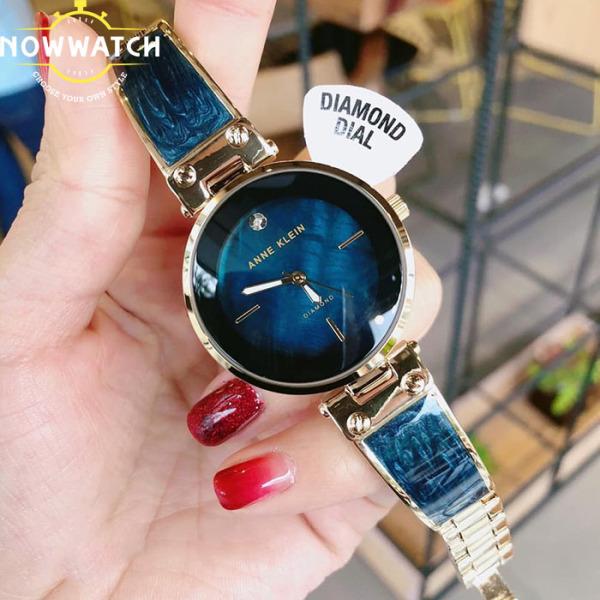Đồng hồ nữ cao cấp AnneKlein-chống nước,mặt số đính kim cương chính hãng màu hải dương cực đẹp,dây kim loại nạm đá cẩm thạch blue thu hút mọi ánh nhìn-Model AK/2512NVGB bán chạy