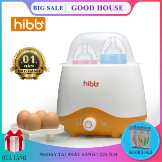 Máy hâm sữa và tiệt trùng bình sữa HIBB sử dụng cùng lúc 2 bình với 4 chức năng Tiệt trùng bình sữa, hâm sữa, hâm thức ăn, luộc trứng - Thiết kế nhỏ gọn, an toàn và tiện dụng cho mẹ và bé. Bảo hành 1 năm, lỗi đổi mới. thumbnail